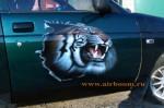 Аэрография на двери. Тигр